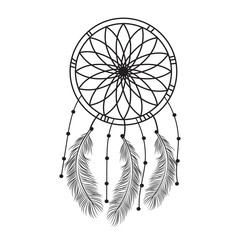 Dream catcher graphic in black and white  decorated with feathers and beads  giving its owner good dreams in mandala style. Vector illustration.