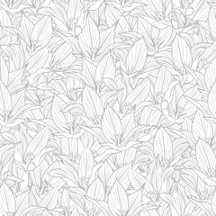 Monochrome graphic seamless pattern, linear, engraving drawing of elegant grey tulip flowers. Black vector illustration, isolated on background for texture, wrapping, packaging and other design.