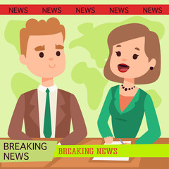 Vector Illustration anchorman breaking news and tv screen layout pofessional interview people in TV studio newsreader breaking news anchor. Communication broadcast newscaster anchor journalist