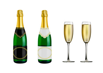A bottle of champagne and glasses.Vector illustration isolated on white background.