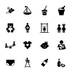Childhood icon set. Can be used for topics like kid, babyhood, toy, carefree, kindergarten