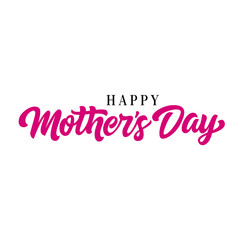 Happy Mothers day lettering. Calligraphic inscription in pink and black colors. Handwritten text, calligraphy. Can be used for greeting cards, posters and leaflets