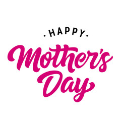 Happy Mothers day lettering. Holiday inscription with dots. Handwritten text, calligraphy. Can be used for greeting cards, posters and leaflets