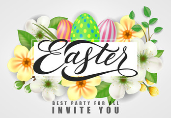 Easter Best Party for All Invites You lettering. Easter invitation with flowers. Handwritten text, calligraphy. For greeting cards, posters, leaflets and brochures.