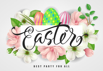Easter Best Party for All lettering. Easter invitation with flowers. Handwritten text, calligraphy. For greeting cards, posters, leaflets and brochures.