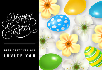 Happy Easter Best Party for All Invites You lettering. Easter invitation with flowers and eggs. Handwritten and typed text, calligraphy. For greeting cards, posters, leaflets and brochures.