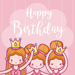 Happy birthday card with girls ballet dancers