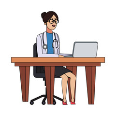 Woman doctor seated at desk vector illustration graphic design