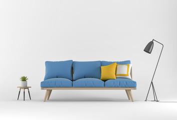 3D rendering of Studio furniture with sofa, lamp, plant