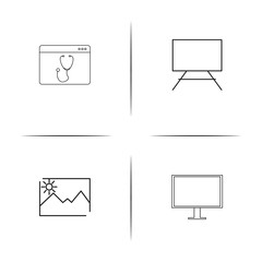 Creative Process And Design simple linear icons set. Outlined vector icons