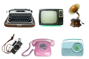 Collection of vintage retro technology related - clipping path objects isolated on white background. Wall mural