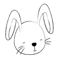 grunge cute rabbit head wild animal