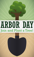 Campaign with Shovel Promoting Tree Plantation in Arbor Day, Vector Illustration