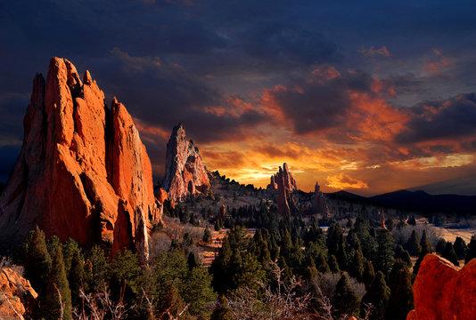 Evening Light at the Garden of the Gods Park in Colorado Springs, Colorado