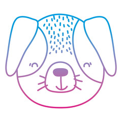 degraded line adorable and happy dog head animal