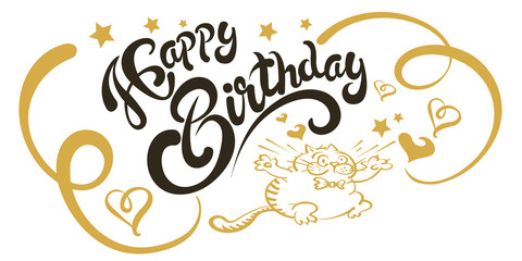 Happy birthday card template. Greeting card with words and a cheerful cat. Quote with a happy birthday black letters on a white background. Decorative - swirls curls, stars, hearts in gold. Vector