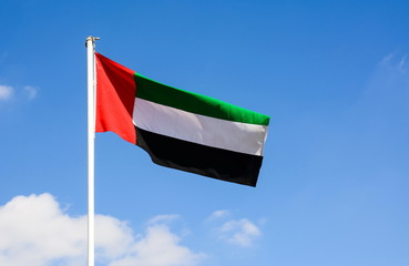 United Arab Emirates flag winding in the wind