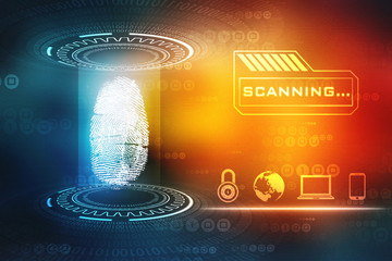 Security concept: fingerprint Scanning on digital screen. Cyber Security Concept. 3d render
