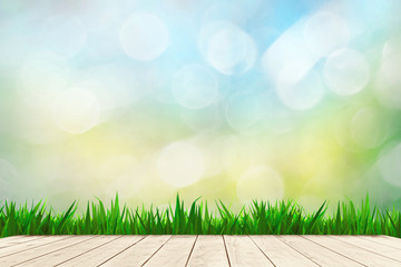 Bokeh background and balcony green grass