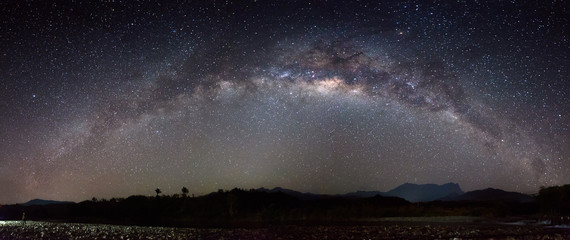 Panorama of Nightscape scenery with starry and milky way. Mount Kinabalu as background.