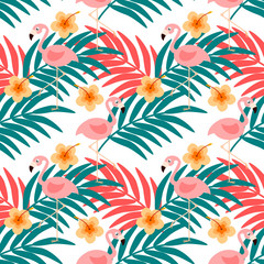 Flamingo and summer flower seamless pattern vector. Colorful summer concept.