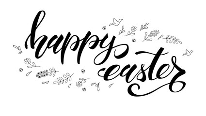 Happy Easter greeting. Template with black and white handwritten calligraphy and sketchy hand drawn art. Hand drawing doodle. Festive brush pen lettering. Easter greeting with traditional decorations