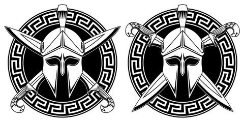Greek helmet with crossed swords. Greek ornament.
