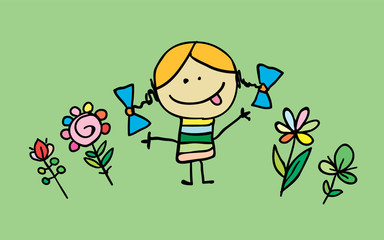 Little cartoon girl with flowers