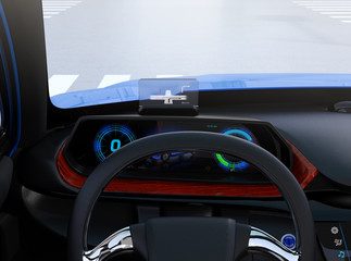 Closeup view of digital speedometer with HUD on wooden tray. Electric car's dashboard concept. 3D rendering image.