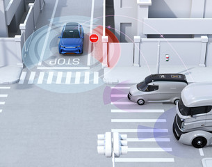Blue SUV in one-way street detected vehicle in the blind spot. Connected car concept. 3D rendering image.
