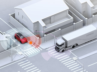 Red SUV in one-way street detected vehicle in the blind spot. Connected car concept. 3D rendering image.