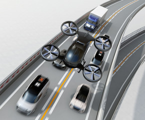 Front view of black passenger drone flying over cars in heavy traffic jam. Concept for drone taxi. 3D rendering image.
