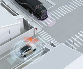 White SUV in one-way street detected vehicle in the blind spot. Connected car concept. 3D rendering image.