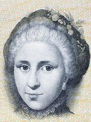 Catherine Sophie Kirchhoff portrait from Danish money