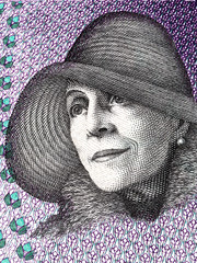Karen Blixen portrait from Danish money