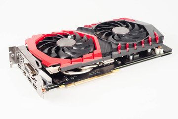 Graphic video card for crypto currency mining on white