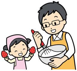 パパとお菓子作り