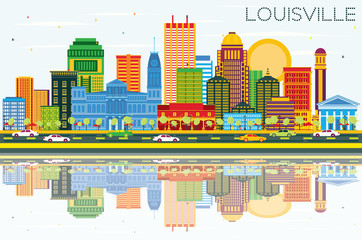 Louisville Kentucky USA City Skyline with Color Buildings, Blue Sky and Reflections.