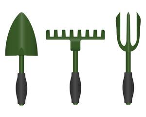 tools for garden. small shovel, rake