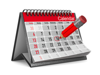 calendar with noted date on white background. Isolated 3D illustration