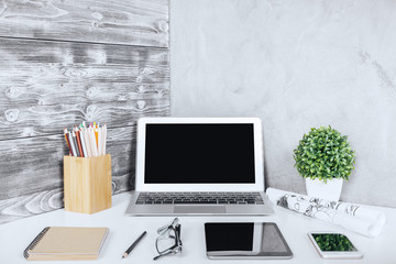 Modern workplace closeup