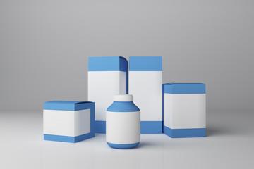 Empty blue medicine container