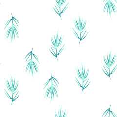 watercolor pattern, seamless background, card with an illustration - wild grasses, algae, twigs, green, branch, basil, sprout, plant, rosemary, spruce, juniper. green drawing of plants