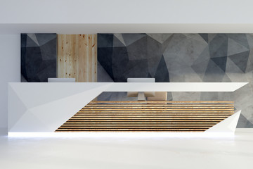 Wall Mural - Illuminated reception desk in contemporary interior front