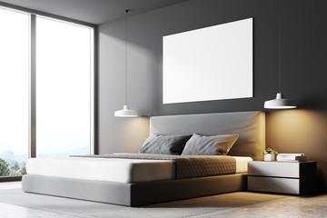 Gray panoramic bedroom corner, poster