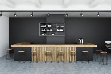 Black wall bar interior