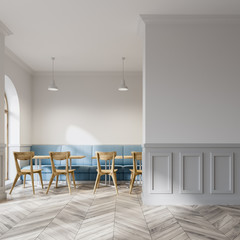 White cafe, wooden chairs, mock up wall