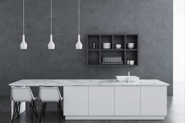 Gray kitchen interior, shelves