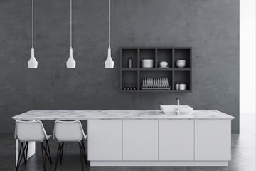 Gray kitchen interior, shelves