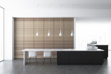 White kitchen, wooden cupboard